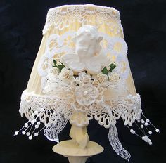Sold Handmade Pink Rose And Lace Lamp Shade Shabby