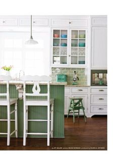 Vintage green seaglass {DREAM} kitchen. I imagine an enormous double farm kitchen sink behind that island!