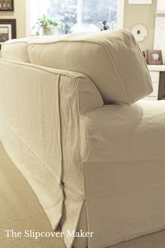 Even a well-loved 12 year old sofa can look new again with linen cotton slipcover.