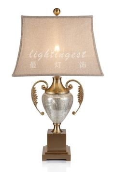 Modern European American copper lamp【最灯饰】现代欧式美式将军瓶玻璃铜台灯