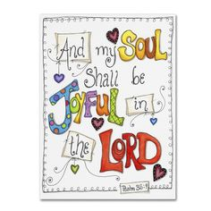 "Trademark Art 'Words of Joy - Joyful Soul' by Jennifer Nilsson Textual Art on Wrapped Canvas Size: 47"" H x 35"" W x 2"" D"