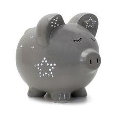 Blue Polka Dot Child To Cherish White Elephant Money Bank