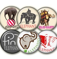 Elephant24 circles 1.313 inch size   by elenis4youbanners on Etsy, €1.44