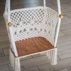 These macrame hammock chairs are the perfect size to hang in your home. We love seeing them in toddler's rooms as a sitting spot in a reading nook or just a extra spot for your little one to swing away anywhere in your home. Macrame Chairs, Macrame Wall Hanging Diy, Hammock Chair, Swinging Chair, Ideias Diy, Macrame Design, Macrame Projects, Macrame Patterns, Decoration