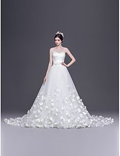 A-line,Princess Court Train Wedding Dress -Sweetheart Tulle – USD $ 249.99