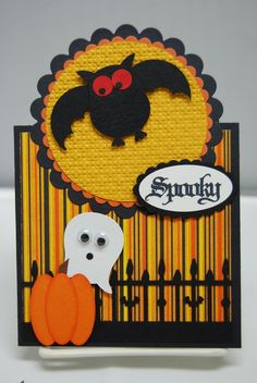 cute halloween card from the SU owl punch. Tarjetas Stampin Up, Stampin Up Karten, Stampin Up Cards, Scrapbooking, Scrapbook Cards, Halloween Cards, Halloween Fun, Homemade Halloween, Fall Cards