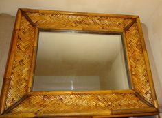 Massive Vintage Bamboo Frame Tropical Theme Hanging Wall Mirror 28 x 22 5 Inches   eBay
