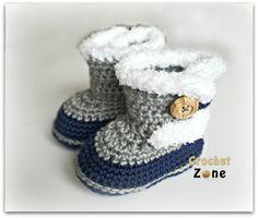 Fuzzy Booties by Crochet Zone -Free Crochet Pattern ༺✿ƬⱤღ✿༻