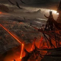 Sauron overlooks his vast armies of Darkness