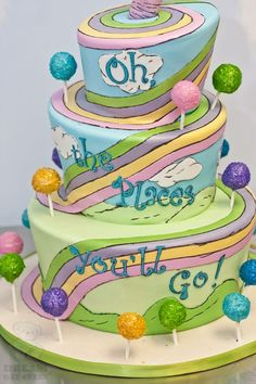 literary edibles vol. I | dr. seuss OH THE PLACES YOU'LL GO book cake
