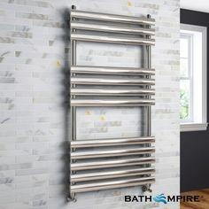 1200x600mm Chrome Oval Tube Ladder Towel Radiator - Gerona Premium