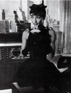 Audrey Hepburn looking impossibly stylish from the movie Sabrina. I adore her dress!!!