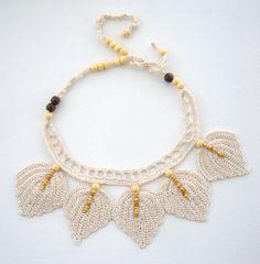 Hand Crochet Natural Linen  Necklace Choker by CraftsbySigita  www.etsy.com/shop/CraftsbySigita