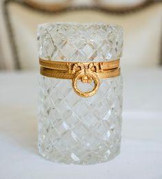 Antique French Ormolu Cut Crystal Trinket Box