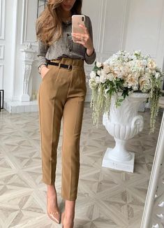 High Waist Pencil Pants Spring Belt Patchwork Long Pants Office Lady T – Simplee Formal Trousers Women, Trousers Women Outfit, Trouser Outfits, Pants Outfit, Pants For Women, Trouser Pants, High Waisted Dress Pants, High Waist Pants, Pleated Pants