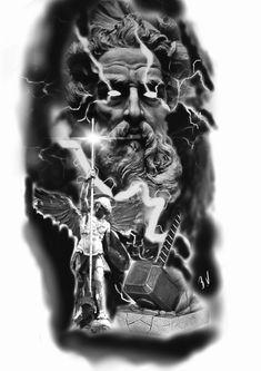 Forarm Tattoos, Eagle Tattoos, Leg Tattoos, Body Art Tattoos, Tattoos For Guys, Zues Tattoo, Heaven Tattoos, Spartan Tattoo, Greek Mythology Tattoos