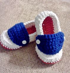 Red White and Blue Booties Loafers Custom Sized by megscutekidshop, $10.00