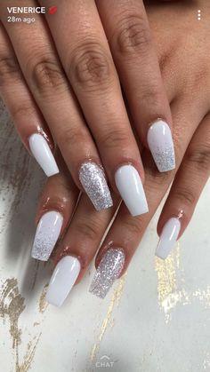promnails coffinshape nails silver silvernails glitter whitenails prom nailsbyvenerice is part of nails - nails White And Silver Nails, Silver Acrylic Nails, Acrylic Nails Coffin Short, Best Acrylic Nails, White Sparkle Nails, Silver Glitter Nails, White Coffin Nails, White Acrylics, White Gel Nails