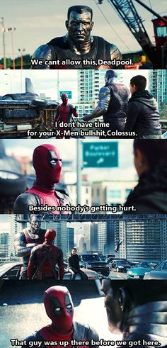 """""""That guy was up there before we got here."""" XD Deadpool Movie by 〖 Marvel Deadpool X-Men Wade Wilson Colossus man falling funny 〗 Marvel Jokes, Marvel Funny, Marvel Dc Comics, Marvel Heroes, Funny Avengers, Dc Memes, Funny Memes, Funny Quotes, Funny Deadpool Quotes"""