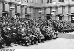 Göring, Keitel, Dönitz, Himmler, Milch, Bock, Oberlindober, and other German leaders at a ceremony to honor those who died in combat, Berlin, Germany, 21 Mar 1943