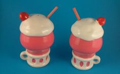 Vintage Salt and Pepper Shakers - Ice Cream Shake - Japan - Lego