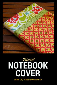 The finished notebook cover measures 15 inches x 9 inches. Your fabric should be your notebook's height and width plus 1 inch. Materials Fabric Lining: 1 rectangle x Pockets: 4 rectangles Diy Sewing Projects, Sewing Tutorials, Sewing Crafts, Sewing Ideas, Fabric Book Covers, Bookbinding Tutorial, Sewing To Sell, Notebook Covers, Journal Covers