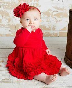 4c120b28ca2a Lemon Loves Lime Layette Baby Girls Jada Ruffle Dress - Christmas Red Baby  Girl Christmas