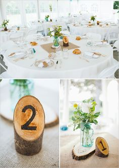 sweet + simple #centerpieces tree stump table numbers... Like the hearts engraved with our initials x