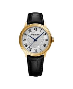 Raymond Weil Men's 'Maestro' Swiss Gold-Tone and Leather Automatic Watch, Color:Black (Model: 2237-PC-00659). Yellow Gold PVD Stainless steel with black embossed calfskin leather strap. Anti-reflective Sapphire Crystal. Swiss-automatic Movement. Case Diameter: 39.5mm. Water resistant to 50m (165ft: in general, suitable for short periods of recreational swimming, but not diving or snorkeling.