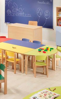 Preschool Tables, Preschool Furniture, Classroom Furniture, Preschool Classroom, Kids Furniture, Kindergarten Interior, Kindergarten Design, Kids Church Rooms, Kids Room