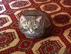 Tabby cat painted stone by Ernestina Gallina