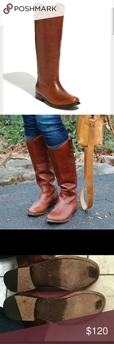 """Frye 'Melissa button' boot Gently worn women's Frye brand Melissa button boots   size 8   cognac   Button-accented pull tabs top a handcrafted riding boot fashioned from soft burnished suede for a vintage look. 1"""" heel (size 8.5). 15"""" boot shaft; 15 1/2"""" calf circumference. Pull-on style. Foam-cushioned midsole. Suede upper/leather lining and sole. By Frye; imported. Leather upper, lining and sole. Frye Shoes"""