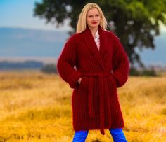 BN Hand Knitted Mohair Robe Fuzzy Wrap RED Shawl Collar Cardigan by SUPERTANYA #SUPERTANYA #BasicCoat