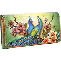 Anuschka Accordion Flap Wallet Passionate Peacocks - Anuschka Ladies Clutch Wallets
