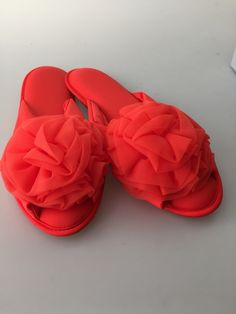 Vintage VANITY FAIR Slippers Orange NYLON by rememberwhenemporium