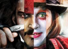 The many Faces of Johnny Depp-Sweeney Todd, Jack Sparrow, Mad Hatter and Willy Wonka. Tim Burton, Johnny Depp Personajes, Jhony Depp, Sweeney Todd, Willy Wonka, Many Faces, Pirates Of The Caribbean, Cultura Pop, Pop Culture