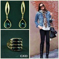 Brincos e anel com pedra onix!! www.ckdsemijoias.com.br