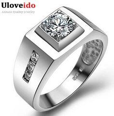 Uloveido Jóias Vintage Anel de Bijuteria Grande Criado Anel de Diamante de Prata Esterlina dos homens de Prata Masculinos Acessórios Do Casamento J473