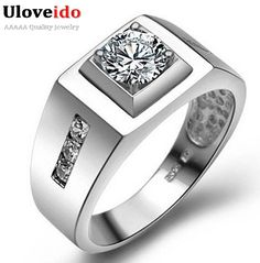 Uloveido 빈티지 보석 anel 드 프라 남성 큰 반지 만든 다이아몬드 스털링 실버 보석류 남성 웨딩 액세서리 j473