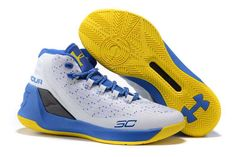 big sale c7105 320ff Men s Under Armour UA Stephen Curry Three Dub Nation Mid Basketball Shoes  White Blue Yellow. Miss 3