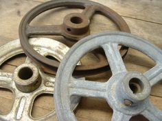 Old Industrial Factory Salvage Pulley Wheels by beneaththerust, $43.00