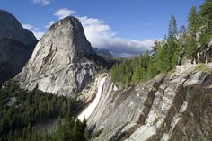 Liberty Cap and Nevada Falls from John Muir at Trail  Yosemite National Park, California