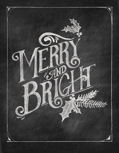 Merry & Bright Chalkboard Art Printable by shopBubblegumAlley