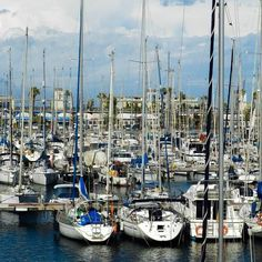 Sailboats in Barcelona Harbours, Spain.