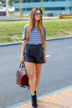 Leather and Stripes | Negin Mirsalehi