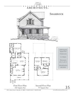 "This plan is 2,038 Heated Square Feet, 3 Bedrooms and 2 1/2 Bathrooms. The master bedroom is on the main floor. The dimensions are 65'-0"" x 34'-5"". NC0035"