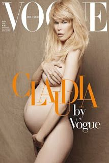 #KarlLagerfeld, #ClaudiaSchiffer, #Vogue, #magazine, #cover, #fashion, #model, #pregnant, #pregnancy