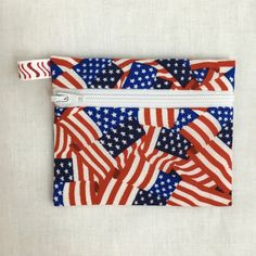 Patriotic American Flag Zipper Coin Purse, Credit Card, Earbud, iPod Pouch by NancyPKdesigns on Etsy