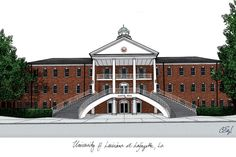 University of Louisiana-Lafayette Campus Images Lithograph Print