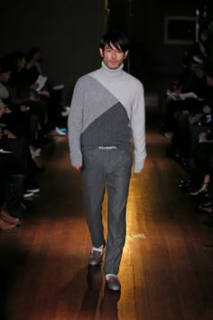 """MICHAEL BASTIAN IS AN AMERICAN DESIGNER KNOWN FOR HIS TRENDY MENSWEAR FASHION LABEL """"MICHAEL BASTIAN"""" ALSO KNOWN FOR HIS WORK FOR GANT HE SHOWED HIS FALL/WINTER 2014 MENSWEAR COLLECTION IN NEW YORK"""